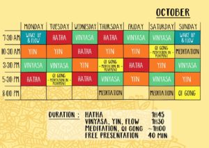 October Schedule House of Om Nusa Lembongan Yoga