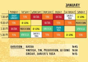 Schedule IIR Yoga House of OM January 2020